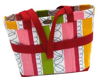 Small tote //  red canvas // pink // green // yellow // short handles