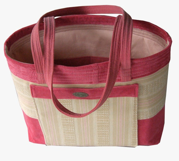 Medium size tote // pink // upcycled