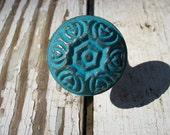 Set of 8 Cast Iron Turquoise Vintage Style Floral Knobs or Pulls for Dressers or Cabinets