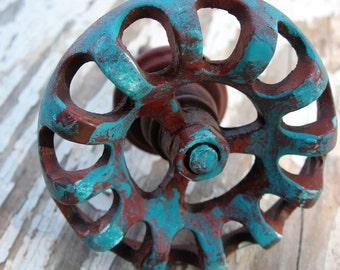 2 Red and Turquoise Blue Antiqued Industrial Style Spigot Knobs or Pulls for Dressers or Cabinets B-3
