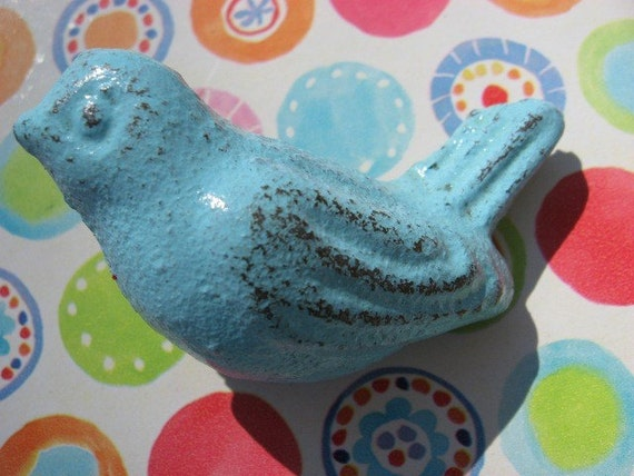 Reserved for Ginny  4 Bird Knobs in Light Sky Blue Cottage Chic Bird Knobs or Cabinet Pulls