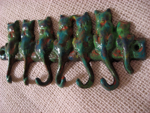 Custom Hand Painted Seven Cats of Many Colors Art Multicolor Wall Hook with Six Tail Hooks for your Home or Office Cottage Style