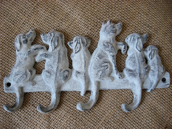 Puppy Wall Hook Six Sweet Dogs Waiting for a Squirrel Multiple Hooks for your Home in Cream