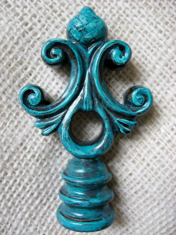 Architectural Lamp Finial Turquoise Blue Patina Verdigris and Hint of Bronze One of A Kind for your Lamp