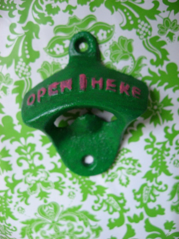 Bright Grass or Kelly Green and Hot Pink Preppy Colors Bottle Opener Antique Style Reminiscent of Days of Old or Gone By