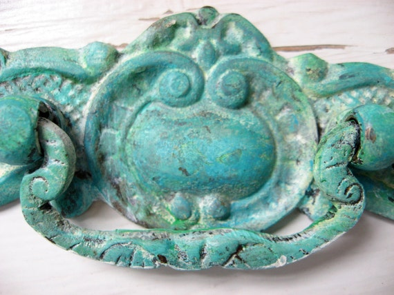 Set of 6 Deep Intense Patina Aged Finish Vintage Style Pulls for Drawers In Verdigris or Patina Green and Blue