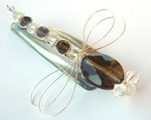 Smokey Quartz and Crystal Sterling Dragonfly Hair Pin, Clip, Brooch or Bouquet Decoration - Tagt