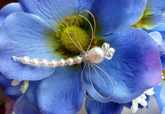 White Swarovski Pearl Dragonfly Hair Pin, Brooch or Bouquet decoration - Tagt
