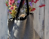 Crocheted Grey or Mauve or Black Tote, Black and White Lining,Eco friendly recycled, Custom made