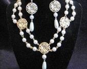 Gold Filigree Pearl Necklace Filigree Teardrop earrings- Gold Renaissance Faire Tudor Fantasy Larp Wedding Bridal