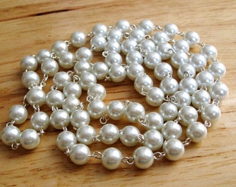 "Pearl Necklace- 36"" pearl chain"