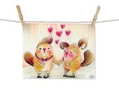 Beavers In Love - ORIGINAL Drawing