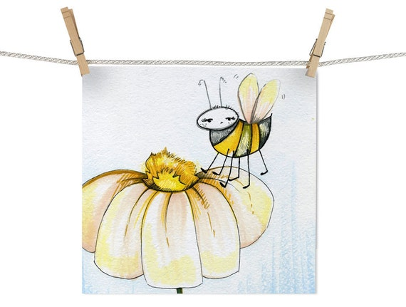"""Original Bee and Flower Drawing """"There's No Honey in this Flower"""""""