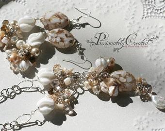 Ocean Pure White Seashell, Vintage Beads, Gemstones, Pearls, Limited Edition, dangling earrings