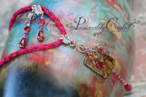 Vintage, Modern Style, Deep Red Kumihimo Cord and Swarovski Crystal, Bronzite Stone, Antique Copper and Brass Necklace