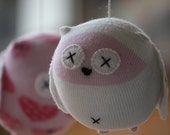 Sock Owl Mobile in Pink and white