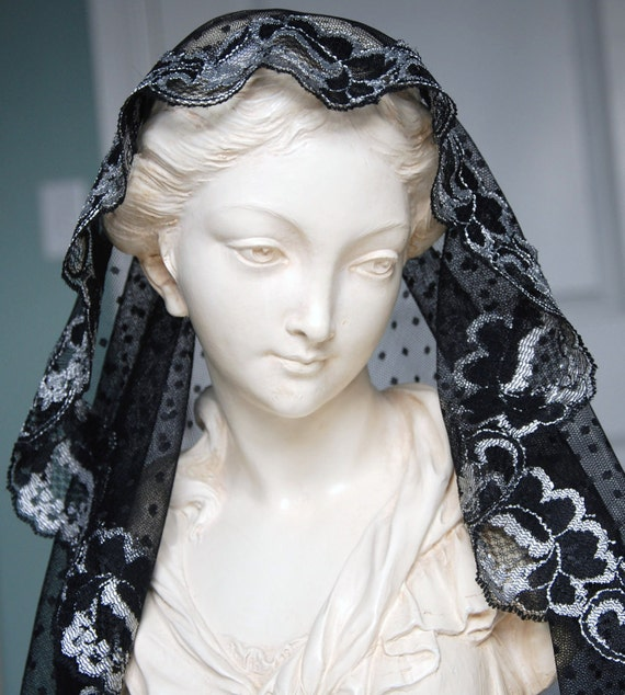 Black Dotted Mantilla Edged in Black and Silver Lace