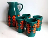 Seventies Ceramic Pitcher/Jug and 4 Cups. Jade Green and Orange Stylized Tree Motif.