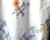 Vintage Art Deco Embroidered Tablecloth. Linen, large, rectangular, geometric, floral, drawn thread embroidery. tserendipity