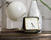 Vintage French Travel Alarm Clock. Green Leather Case. With Inscription