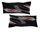 Yagasuri-2 Recycled Decorative Pillow / Throw Cushion Cover. 30x65cm. Vintage Kimono Silk and Natural Linen. Modern Design. Eco Living