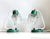 Small Bedside Lamps from the 70s. Adjustable Chunky Ice Glass Shades. Funky White and Teal Detail
