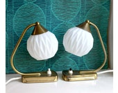 Pair of Vintage Art Deco Style Midcentury Lamps. White Glass Globe Shades with Brass Base