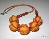 Orange necklace, tangerine necklace, Orange felt necklace with orange glass beads