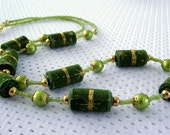 Green necklace green and gold fabric bead pearl necklace cotton