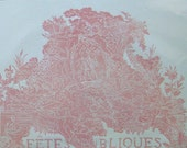 Salmon French 1745 Royal Wedding Announcement, Cherubs and Lion, lino block print, Signed