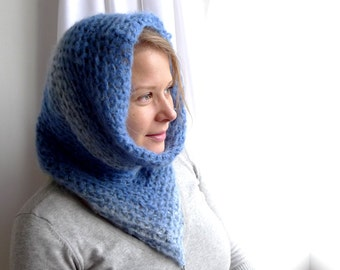 Snood Scarf, Hooded Cowl, Tube Scarf, Neck Warmer, Crochet Cowl, Fairy Scarf, Winter Accessories - Sky Blue - Psytrance Beaded