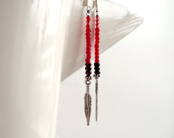 SALE - long tribal dangle earrings - red glass beads, silver feather charms, sterling silver wires - minimal navajo
