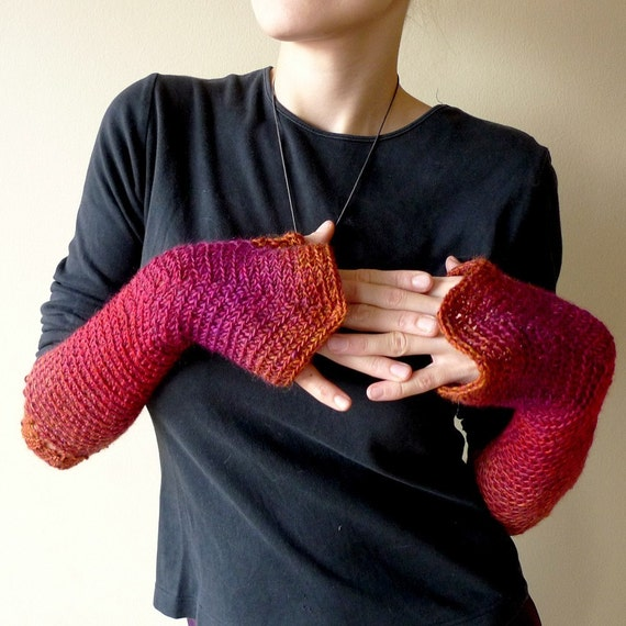 SALE long crochet armwarmers in light wool,  ombre red, purple, orange - Thumbellina long