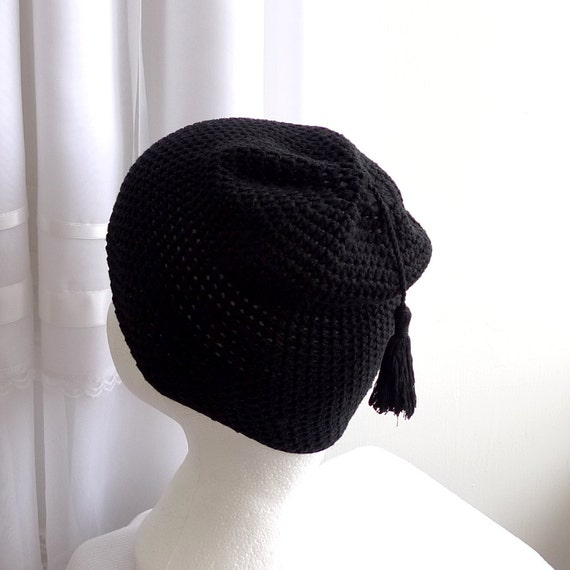 black bamboo beanie hat with a tassel, luxury silky soft, unisex - Pipo - spring, summer, fall