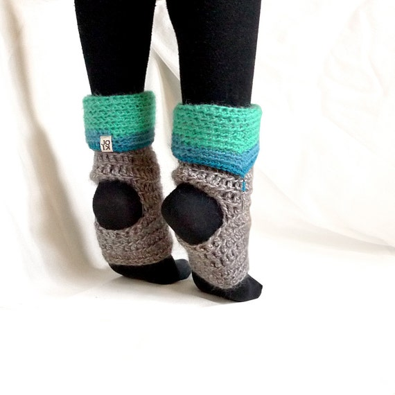 fairy dance spats / leg warmers, gray, aqua & turquoise mohair / wool, beaded crochet fashion