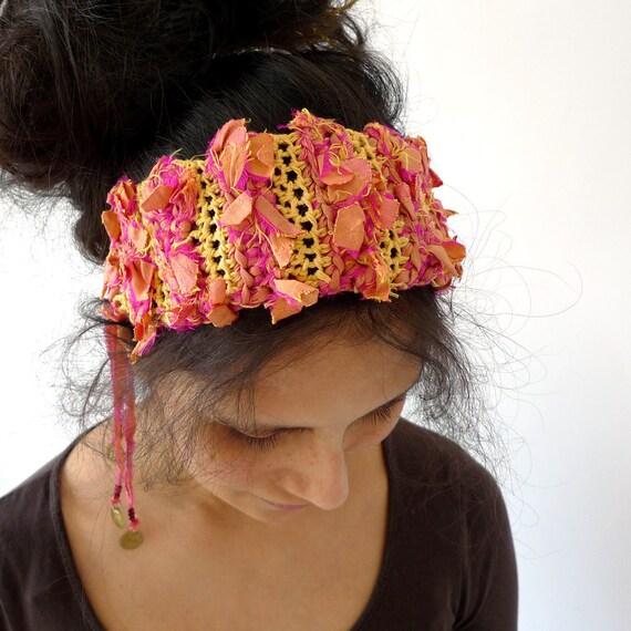 chunky boho gypsy headband - yellow, orange - upcycled silk, cotton, crochet - elephant brass dangle charms - hippie summer fashion