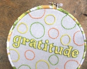 SALE - Gratitude Embroidery in hoop