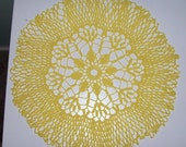 Vintage Large Sunny Yellow Centerpiece Crochet Doily 15 inch Diameter