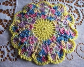 Vintage Pair 2 Colorful Crochet Potholder Pot Holder Mug Rug Round Unused Condition spring yellow blue pink purple