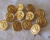 Set of 12 Anchor Navy Gold Color Vintage Metal Buttons 5/8""