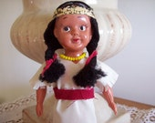 Antique Vintage Japan Plastic Celluloid Native American Indian Dolls White Clothes