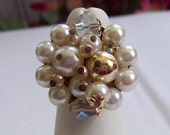 Ring Handmade Vintage Statement Cocktail Beaded Chunky Cluster Ring Repurposed Recycled 1950s Vintage Jewelry AB Crystal OOAK