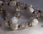 "Vintage Opera Length 58"" Pearl Lucite Plastic Clear Faceted Crackle Bead Necklace"