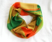 Retro Vintage Fashion Cowl Scarf 1970s Orange Golden Mustard Yellow Dark and Light Green Abstract Block Pattern NOS New Old Stock