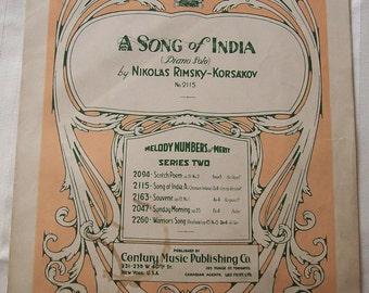 A Song of India, Nikolas Rimsky Korsakov, Vintage Piano Sheet Music