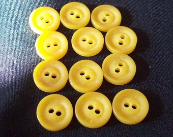Vintage Plastic Buttons set of 12 Matching YELLOW Butterscotch