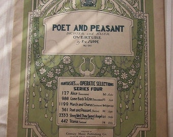 Poet and Peasant (Dichter und Bauer) Overture by FV Suppe Vintage Piano Sheet Music