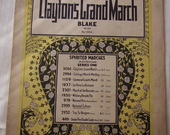 Clayton's Grand March Vintage Piano Sheet Music Century Certified Edition 1930s