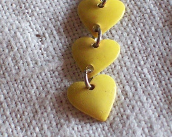 Bright Yellow Earrings Dangling Chain of Hearts Metal Pierced Vintage Retro 1970s 1980s Chic Wild Punk Funky Destash