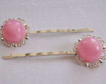 Handmade Pair of Bobby Pins Round Pink Moonglow Repurposed Recycled Vintage Jewelry